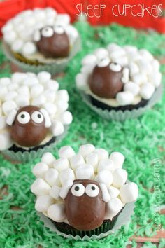 Sheep Cupcakes by Wine and Glue