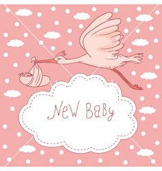 New baby stork flying with baby girl vector - by DMITRII on VectorStock®