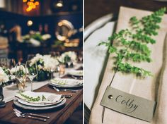Beautiful place settings to give that perfect rustic feel to the Old Bridge on your wedding day. Floral Wedding, Wedding Flowers, Fern Wedding, Wedding Designs, Wedding Styles, 2015 Wedding Trends, Wedding Table Settings, Place Settings, Warehouse Wedding