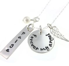 Forever My Angel  Hand Stamped Jewelry Memorial by byHannahDesign, $50.00