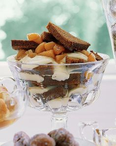 Gingerbread Trifle with Cognac Custard and Pears Recipe