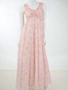 3bd35a664d1 1970s Boho Pink Floral Empire Maxi Dress - Blue Velvet Vintage   70smaxidress  1970smaxidress