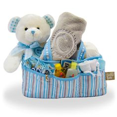 Buy Baby Boy's First Teddy and Diaper Caddy. More - Baby Boy's First Teddy and Diaper Caddy. Baby Boy's First Teddy and Diaper CaddyThis diaper caddy has everything you need to begin your journey with your new baby. Baby Boy Gift Baskets, Baby Boy Gifts, Gifts For Boys, Baby Shower Gifts, Johnson Baby Bath, Baby Bedtime, Diaper Caddy, Unique Baby Gifts, New Baby Boys