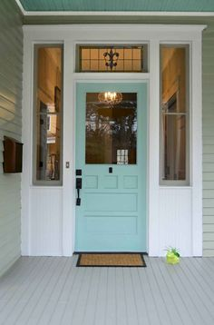 "A blue front door and porch ceiling. A Queen Anne Bungalow's front door painted Sherwin-Williams ""Hazel"" in Grant Park. Front Door Paint Colors, Painted Front Doors, Front Door Design, Aqua Front Doors, Aqua Paint Colors, Turquoise Painting, Entrance Design, House Entrance, Front Entry"