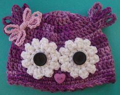 Li'l Owl Baby Hat Newborn Girl 0-3+mo knit purple beanie bow yarn cap fun gift o | eBay
