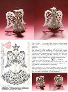 """Képtalálat a következőre: """"crochet angel ornament pattern free"""" Crochet Christmas Decorations, Crochet Decoration, Crochet Ornaments, Holiday Crochet, Crochet Snowflakes, Christmas Crafts, Crochet Angel Pattern, Crochet Angels, Crochet Patterns"""