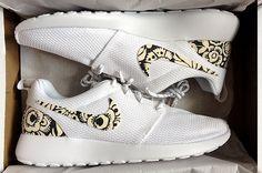 wholesale dealer 53cb0 8f1c3 Nike Roshe Run Womens White with Custom Black White Floral Print