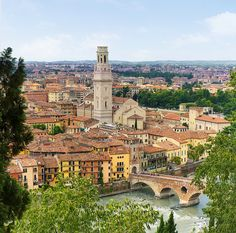 Birdview of Verona on the Adige river and Ponte Nuovo