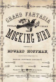 Vintage Sheet Music The Mocking Bird
