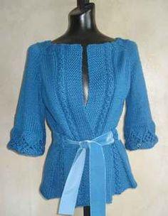 #81 Peplum Waist Top Down Cardigan PDF Knitting Pattern #knitting #SweaterBabe.com