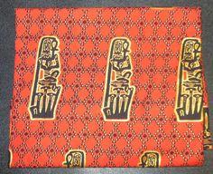 vintage EGYPTIAN print FABRIC 1 1/4 YARDS Sotiba Dakar real african print cotton king tut ankh on Etsy, £8.44