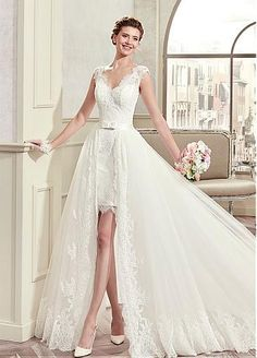 Fashionable Tulle & Satin V-Neck 2 In 1 Wedding Dresses With Lace Appliques