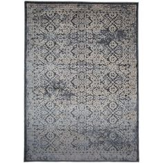 Dark Grey Transitional Distressed Floral High-low Texture Area Rug (7'7 x 10')