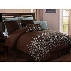 @Overstock - Add an extra touch of luxury to your bedroom decor with this 8-piece comforter set. This bedding ensemble showcases a beautiful light blue embroidered leaf design against a chocolate brown background.