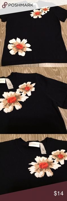 """Liz Claiborne Navy Blue Floral Short Sleeve Top Liz Claiborne, medium, navy blue with floral pattern, short sleeve, thick sweater like, 100% cotton, Great used condition!  Length: 22"""" Bust: 36"""" Liz Claiborne Tops"""