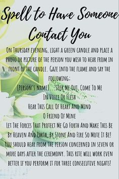 Want someone to contact you A friend Potential Lover Or maybe you need an estranged family member to get in touch Try this magic spell and have them contact you in no tim.