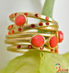 Radiant Coral Stacking Rings with Faceted Stones and Crystal