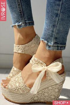 Bowknot Design Platform Espadrille Wedge Sandals - Zapatos - Best Shoes World Platform Wedge Sandals, Wedge Heels, Shoes Heels, Heeled Sandals, High Heels, Flat Sandals, Wedge Dress Shoes, Boho Sandals, Buy Shoes