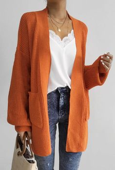 47.99 Chicnico Casual Oversize Orange Long Cadigan Pull Orange 662ea3ecb