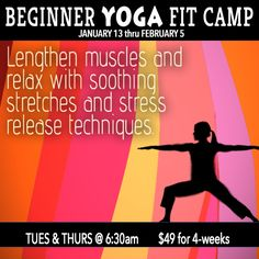 AHHH De stress and learn Yoga at a BEGINNER level where every woman is new!  choose our FIT CAMP tab at www.schedule.live-well-fit.com and be with other women ready to start the day with their morning yo!