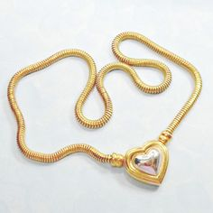 Joan Rivers necklace chain heart focal inner goldtone 18 inch plus signed #JoanRivers #Chain