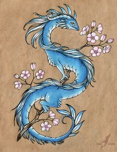 Blue sakura dragon - design by AlviaAlcedo on DeviantArt - Blue sakura dragon – design by AlviaAlcedo on deviantART You are in the right place about Blue sak - Fantasy Drawings, Fantasy Art, Fantasy Creatures, Mythical Creatures, Animal Drawings, Art Drawings, Dragon Drawings, Image Tatoo, Arte Obscura