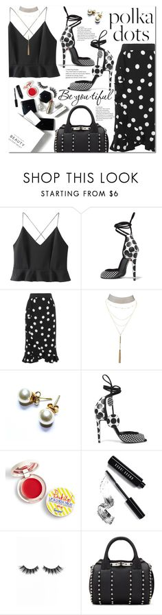 """""""Black & White Polka Dot Elegance"""" by poopsie-plopsie ❤ liked on Polyvore featuring WithChic, Pierre Hardy, Dolce&Gabbana, Charlotte Russe, Supergoop!, Bobbi Brown Cosmetics, Violet Voss, Alexander Wang, H&M and Schone"""