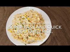 This is a very short clip to show you one of my favorite fried rice recipe. It is super easy and quick recipe to make. Jasmine Rice, Quick Recipes, Fried Rice, Food To Make, Super Easy, Fries, Side Dishes, Eggs, Homemade
