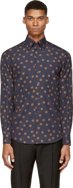 Dolce & Gabbana Navy & Brown Polka Dot Shirt