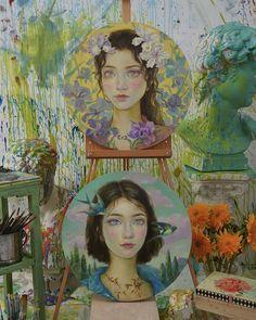 Art Attak, Painting Of Girl, Abstract Drawings, Human Art, Art Studios, Cute Art, Art Inspo, Watercolor Paintings, Decoration