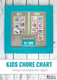 Make a chore chart for non-readers using photos from your phone! Easy step-by-step tutorial from www.sisterssuitcaseblog.com #kids #photos #instagram