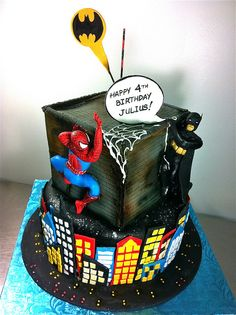 spiderman and batman cake ideas Lego Batman Cakes, Superhero Cake, Minion Cakes, Lego Cake, Batman Spiderman, Superhero Suits, Superhero Ideas, Superman, Zoe Cake