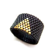 Cleopatra Ring with gold triangle accent on by JeannieRichard