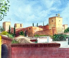 https://flic.kr/p/FQkfe7 | The Alhambra from Cuesta de las Arremangadas | The Alhambra from Cuesta de  las Arremangadas, watercolour