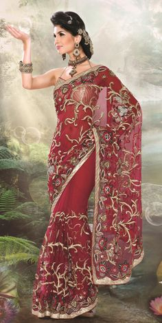 Red Faux Georgette Bridal Saree 13168 With Unstitched Blouse