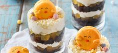 Choc Orange Easter Trifles with Chick Macarons