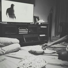 Sleepover; friends-homemade popcorn-movie.
