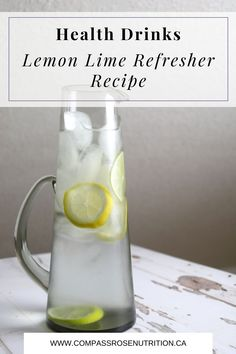 Hydration is important for our health. But maybe you don't love plain old water. I always encourage my clients to add some flavor to help make drinking more water easy. Easy Drink Recipes, Healthy Summer Recipes, Healthy Drinks, Lemon Lime Water, White Wood Table, Infused Water Recipes, How To Make Drinks, Carafe, Water