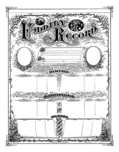 Antique Ephemera Clip Art - Printable Family Record Certificate - The Graphics Fairy