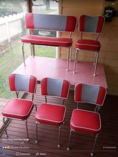 Retro Red Kitchen Table and Chair. Retro Red Kitchen Table and Chair. Art Deco Retro 50 S 60 S Red Laminex Dining Table and
