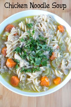 A deliciously comforting recipe for Homemade Chicken Noodle Soup on 5DollarDinners.com