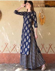 2d86106819f Beautiful Banarsi silk Long Kurti with skirt. Long Kurti With Skirt