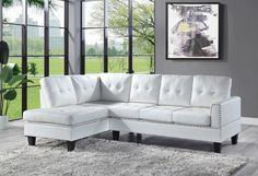 """Acme 56470 2 pc Darby home co Jeimmur white faux leather sectional sofa with tufted back. This set includes the left facing chaise with right arm sofa. Sectional as shown measures 99"""" x 60"""" x 36"""" H. Some assembly required. Living Room Sofa, Home Living Room, Living Room Furniture, Sofa Furniture, Contemporary Sofa, Modern Sofa, Modern Sectional, Leather Couch Sectional, Sectional Couches"""