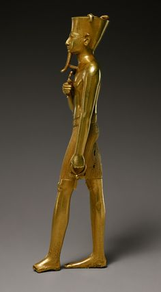 Statuette of Amun, Third Intermediate Period, Dynasty 22, ca. 945–715 B.C. Egyptian, Gold; H. 6 7/8 in. (17.5 cm)