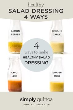 Looking for an easy way to jazz up your boring salads? Try one of these AMAZING and HEALTHY homemade salad dressing recipes! The lemon pepper is my fave. Plus they're all vegan! salad dressing homemade Healthy Salad Dressing: 4 Different Ways Salad Recipes For Dinner, Salad Dressing Recipes, Healthy Salad Recipes, Healthy Snacks, Healthy Dressing For Salads, Healthy Salad Dressings, Vinegrette Salad Dressing, Homemade Dressing Recipe, Best Salad Dressing