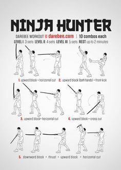 When you hunt ninja you'd best be prepared to cut and defend, block and counterattack. The Ninja Hunter katana workout takes you through some complex moves that require upper body coordinatio… Ninja Training, Combat Training, Martial Arts Workout, Martial Arts Training, Gym Workout Tips, Workout Challenge, Workout Quotes, Boxing Workout, Workout Motivation