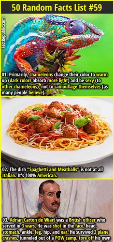 "1. Primarily, chameleons change their color to warm up (dark colors absorb more light) and be sexy (to other chameleons), not to camouflage themselves (as many people believe). 2. The dish ""Spaghetti and Meatballs"" is not at all Italian. It's 100% American."