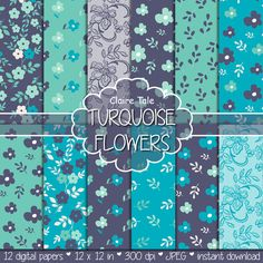 Turquoise Background With White Flowers Pattern Stock Photo