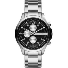 Armani Exchange Men's AX2152 Stainless Steel Quartz Watch ($138) ❤ liked on Polyvore featuring men's fashion, men's jewelry, men's watches, black, mens watches jewelry, mens watches, mens stainless steel watches, mens quartz watches and men's blue dial watches