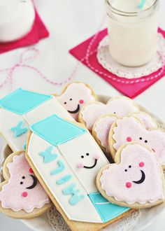 milk cookies - Cookies shaped and decorated like milk cartons for a milk and cookies party